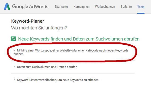 Keyword Recherche Google Keyword Planer2
