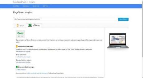 Google Pagespeed Desktop vor Optimierung