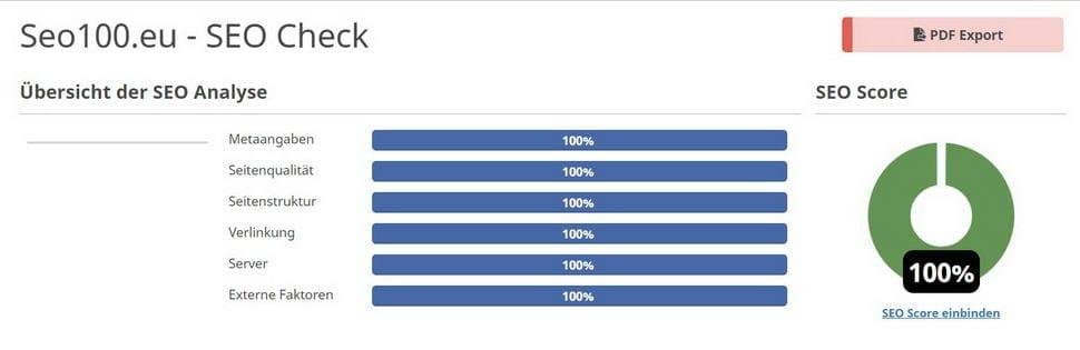 SEO Score 100 Prozent