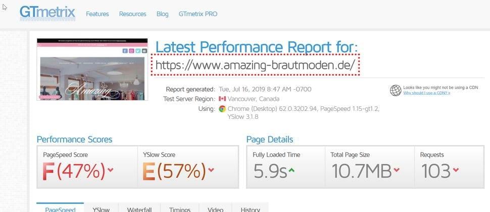 Webseiten-Speed-Test amazing-brautmoden