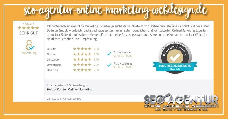 Online Marketing Testimonial Gabi Sanders