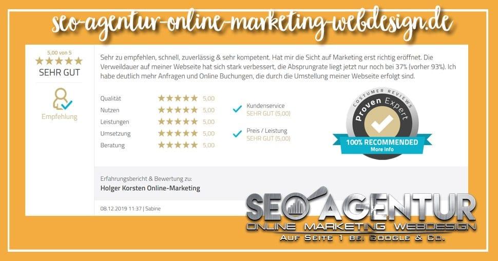 Online Marketing Testimonial Sabine