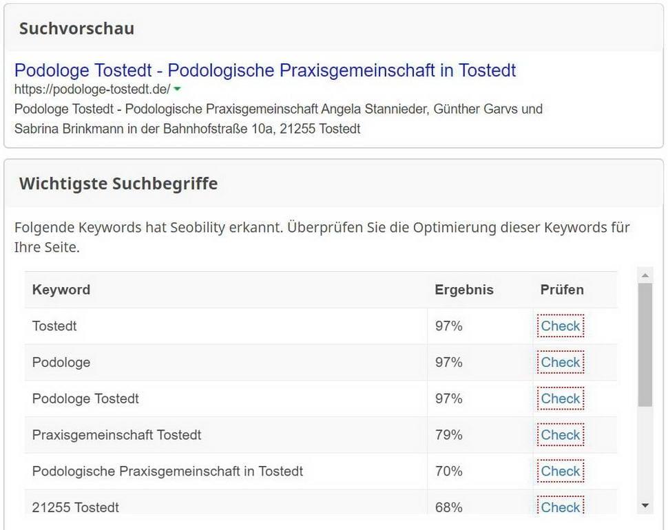 SEO Keyword Bewertung Case Study Podologe Tostedt